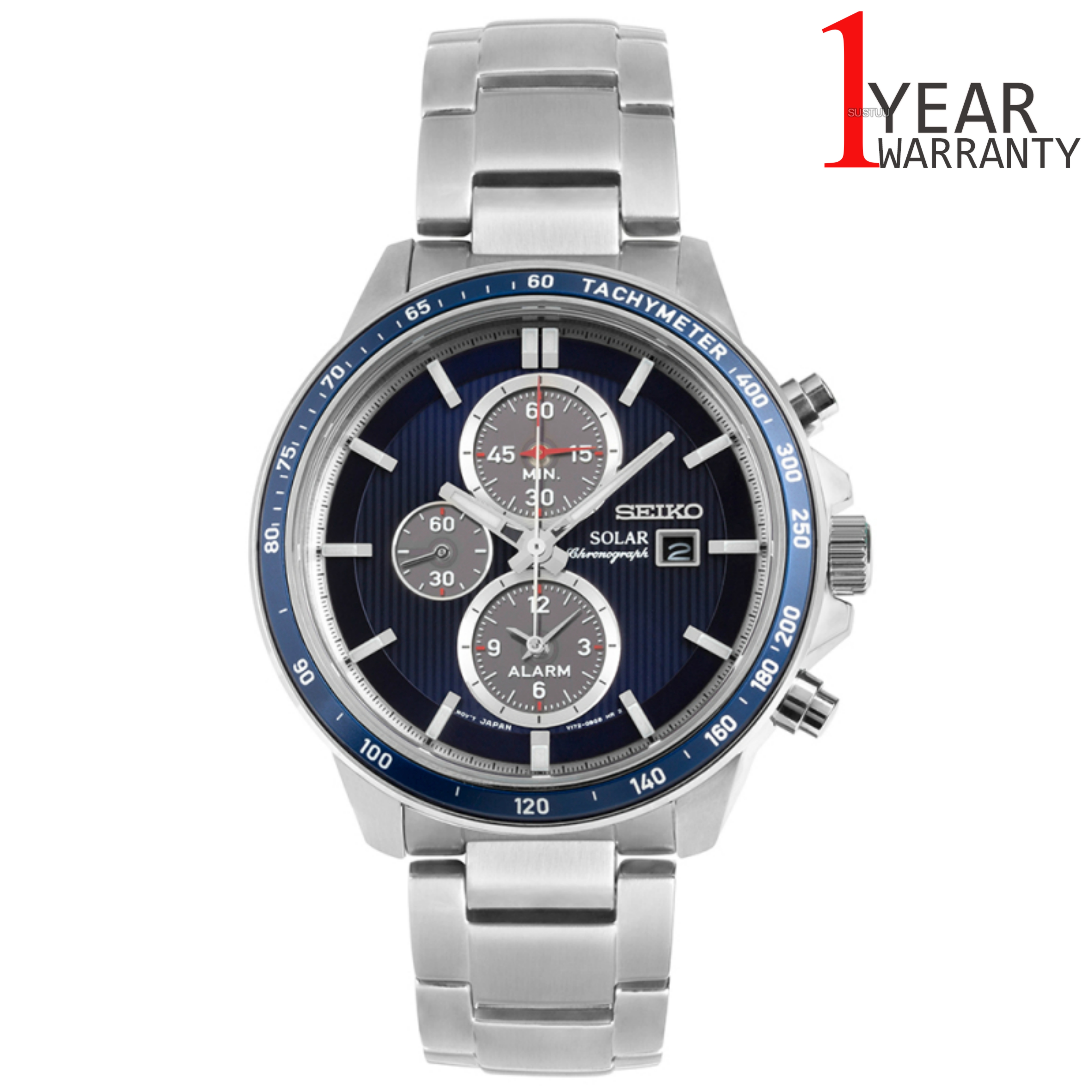 Seiko Solar Powered Mens Watch | Chronograph Blue Dial | S.S Silver Bracelet | SSC431P1