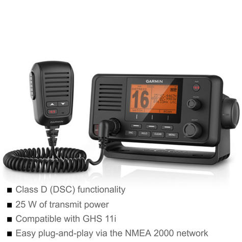 Garmin VHF210i Marine VHF Radio - 25 W | Class D DSC | IPX7 | For Fishermen/ Sailor Thumbnail 2