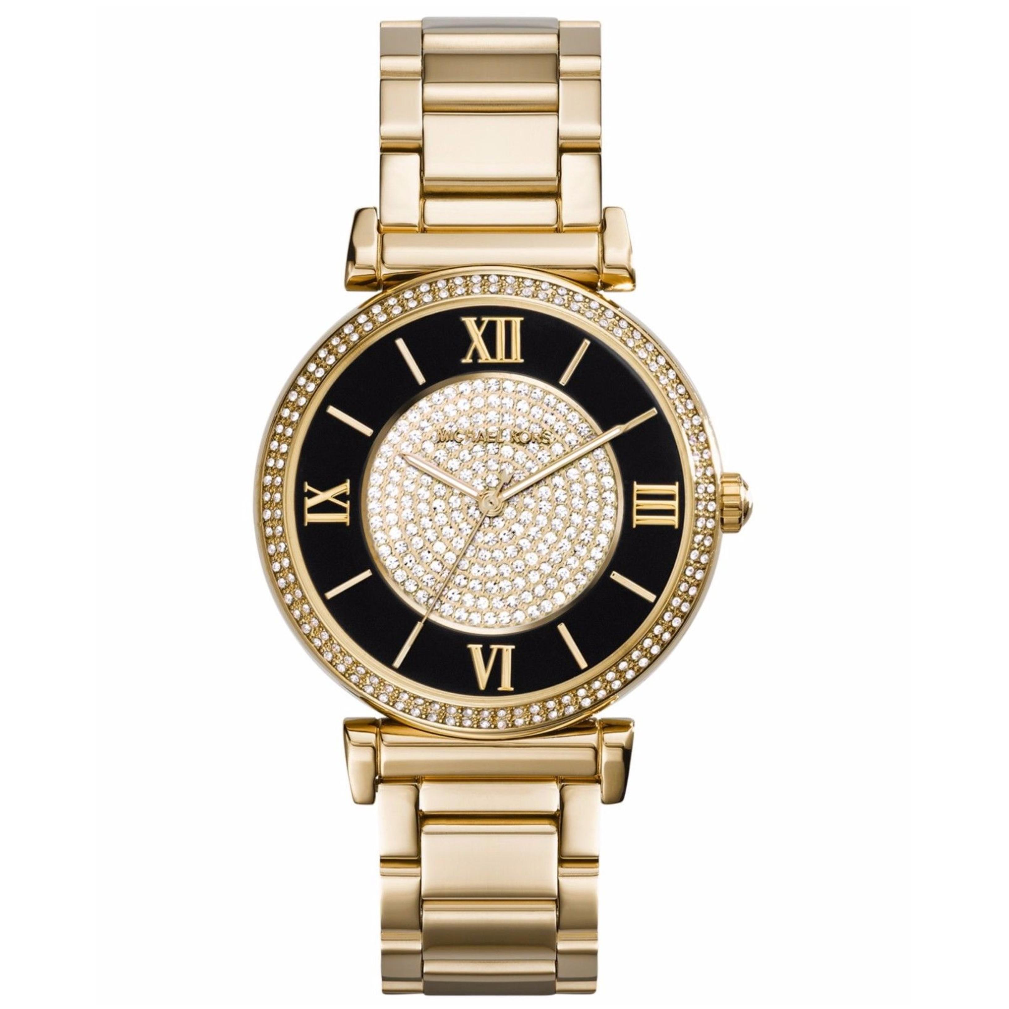 ecb7b85fb5d5 Michael Kors Catlin Collection Gold Tone Crystal Designer Ladies  Watch  MK3338