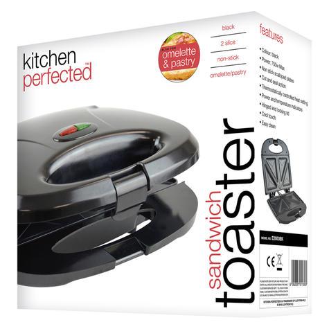 Lloytron 2 Slice Sandwich Toaster | Omelette-Pastry-Toastie Maker | 750W | Black | E2603 Thumbnail 5