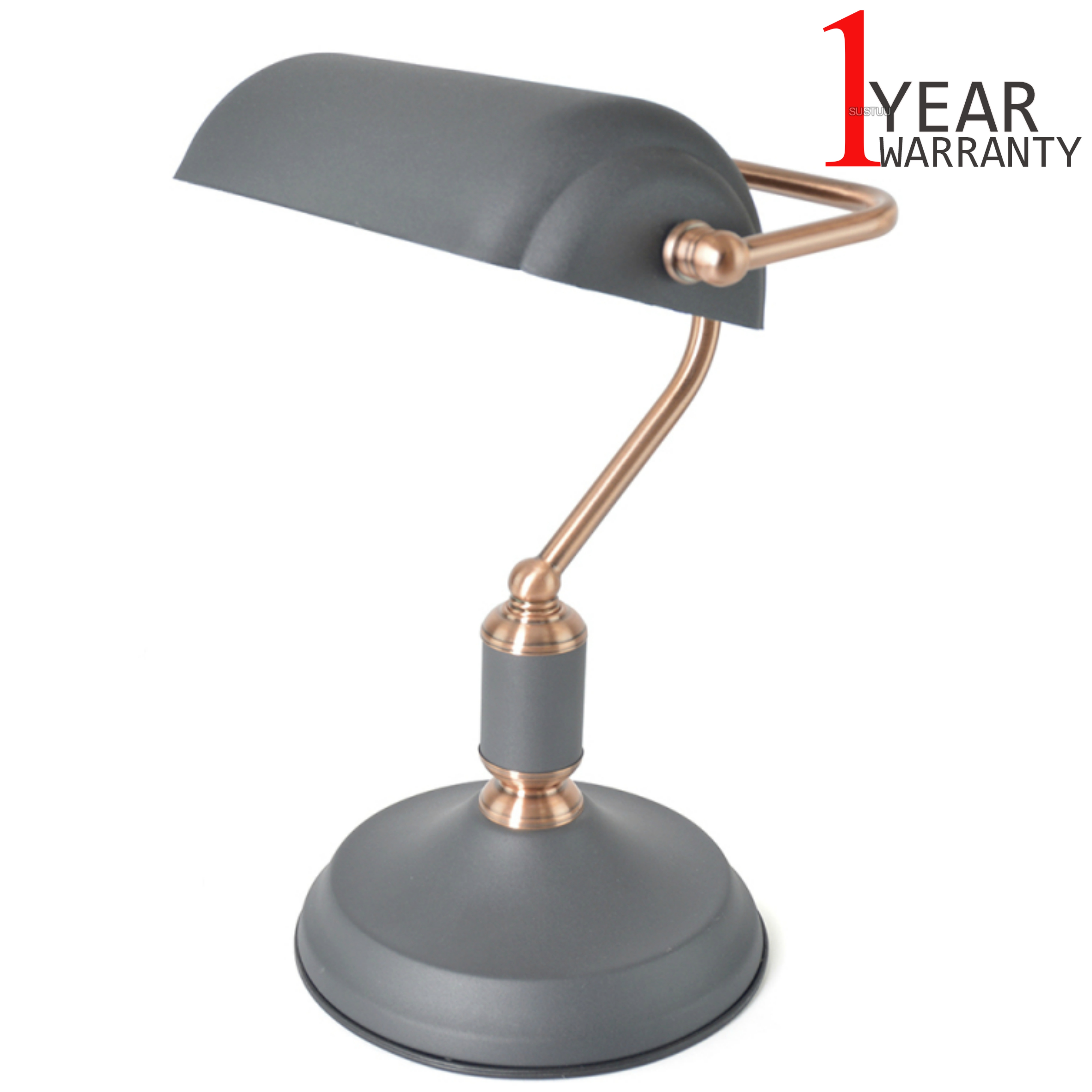 Lloytron 35w Bankers Study Lamp | In Line On/Off Switch | Black-Copper | L1161BC | NEW