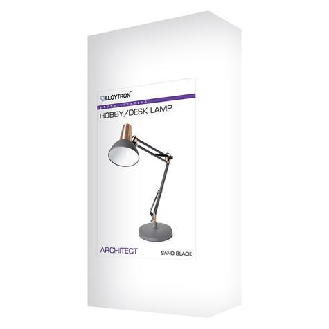 Lloytron 35w Architect Large Desk Lamp | In Line On/Off Switch | Black/Coper | L1124BC Thumbnail 3