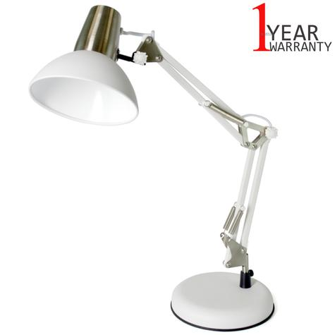 Lloytron 35w Surveyor Small Desk Lamp | In Line on/off Switch | White-Inox | L1123WI Thumbnail 1