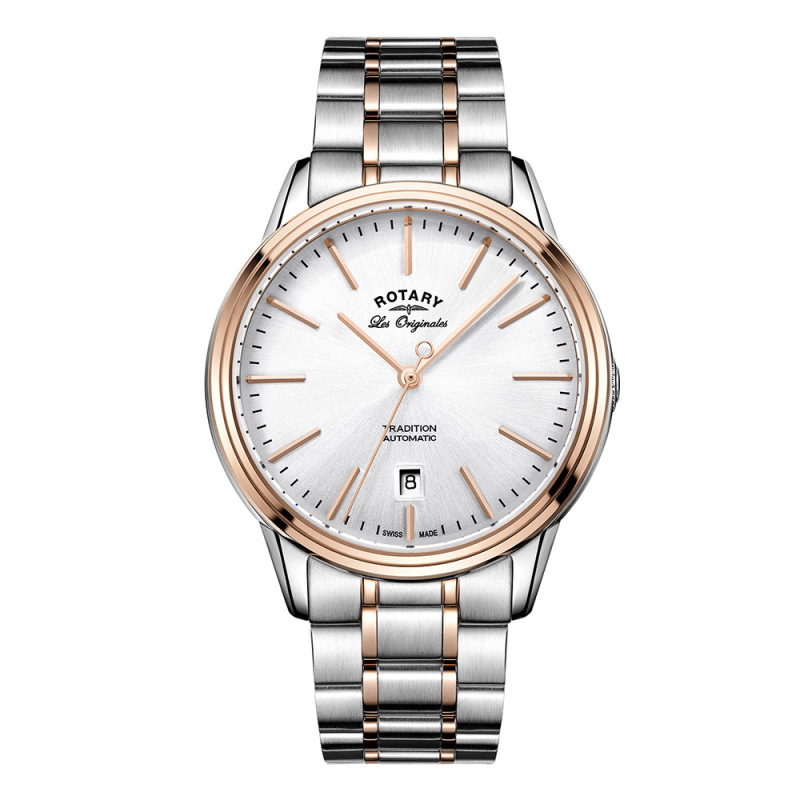 Rotary Tradition Automatic Gents Steel Watch | Dual Tone Bracelet Band | GB90162/59