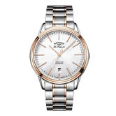 Rotary Tradition Automatic Gents Steel Watch   Dual Tone Bracelet Band   GB90162/59
