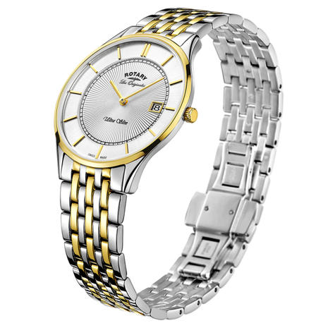 Rotary Ultra Slim Gents Watch | Sunburst Dial | Dual Tone Bracelet Band | GB90801/02 Thumbnail 2