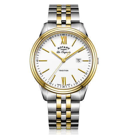 Rotary Tradition Men's Watch | Roman Numerals | Dual Tone Bracelet Band | GB90195/01 Thumbnail 1