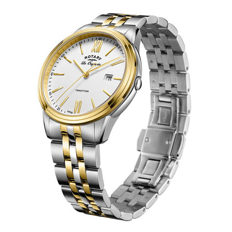Rotary Tradition Men's Watch | Roman Numerals | Dual Tone Bracelet Band | GB90195/01 Thumbnail 2
