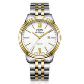 Rotary Tradition Men's Watch   Roman Numerals   Dual Tone Bracelet Band   GB90195/01