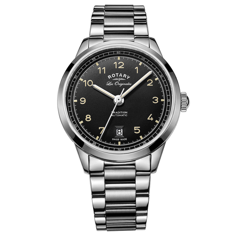 Rotary Tradition Automatic Men's Watch | Black Dial | Steel Bracelet Band | GB90184/19