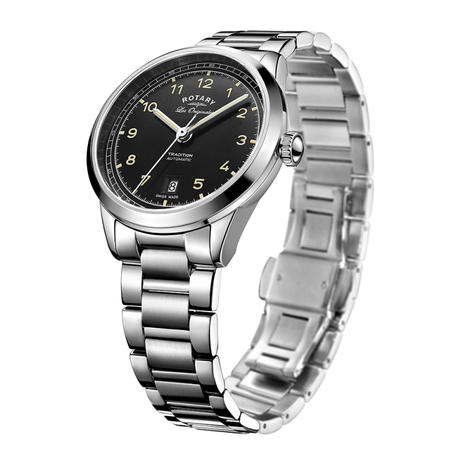 Rotary Tradition Automatic Men's Watch | Black Dial | Steel Bracelet Band | GB90184/19 Thumbnail 2