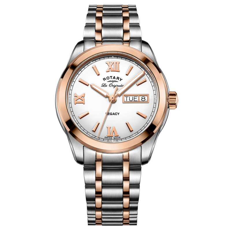 Rotary Legacy Men's Watch | Roman Numerals Dial | Dual Tone Bracelet Band | GB90175/06