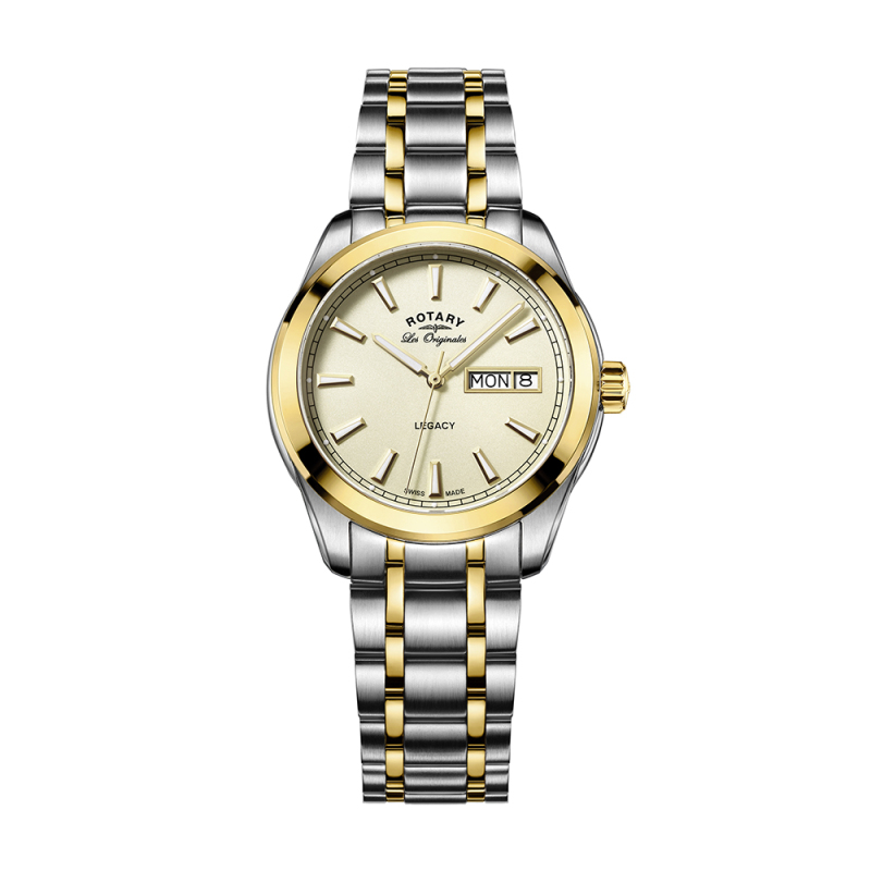 Rotary Legacy Mens Quartz Watch | Champagne Dial | Dual Tone Bracelet Band | GB90174/03