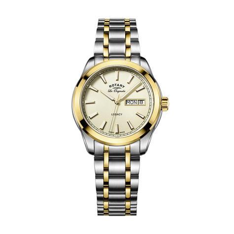 Rotary Legacy Mens Quartz Watch | Champagne Dial | Dual Tone Bracelet Band | GB90174/03 Thumbnail 1