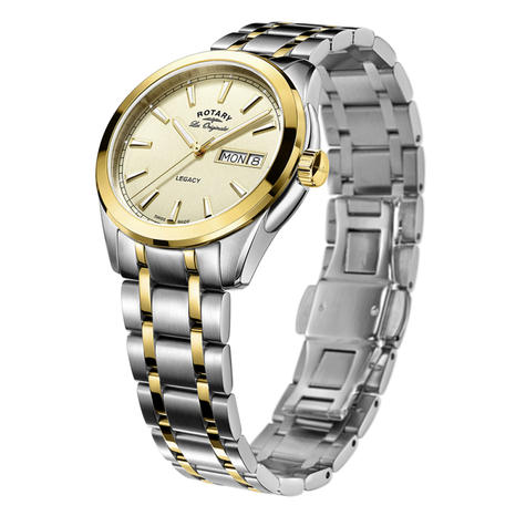 Rotary Legacy Mens Quartz Watch | Champagne Dial | Dual Tone Bracelet Band | GB90174/03 Thumbnail 2