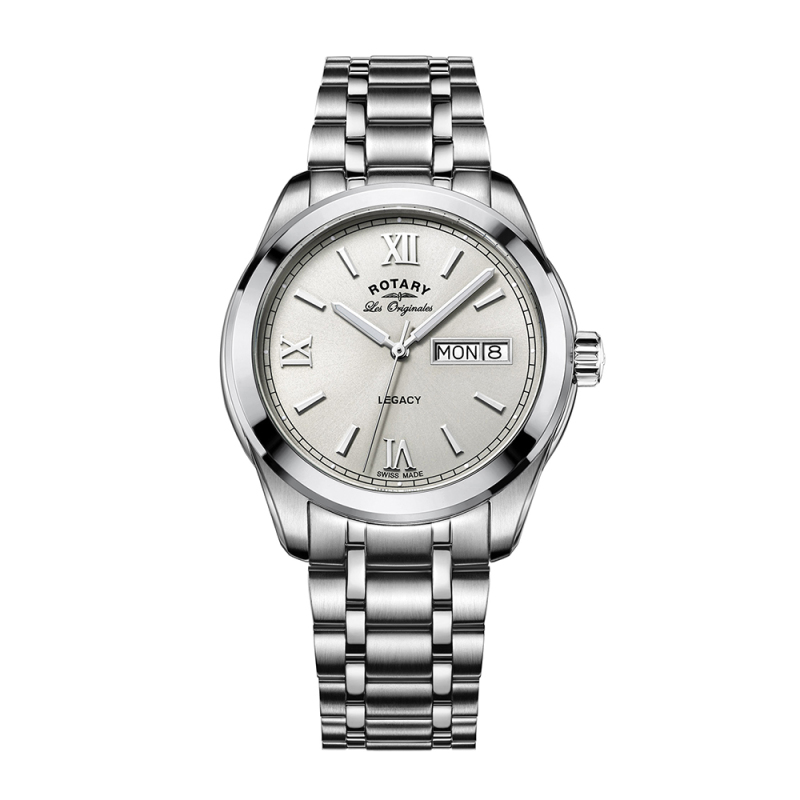 Rotary Legacy Men's Watch | Roman Numerals Dial | Silver Bracelet Band | GB90173/06
