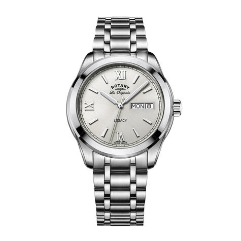 Rotary Legacy Men's Watch   Roman Numerals Dial   Silver Bracelet Band   GB90173/06 Thumbnail 1