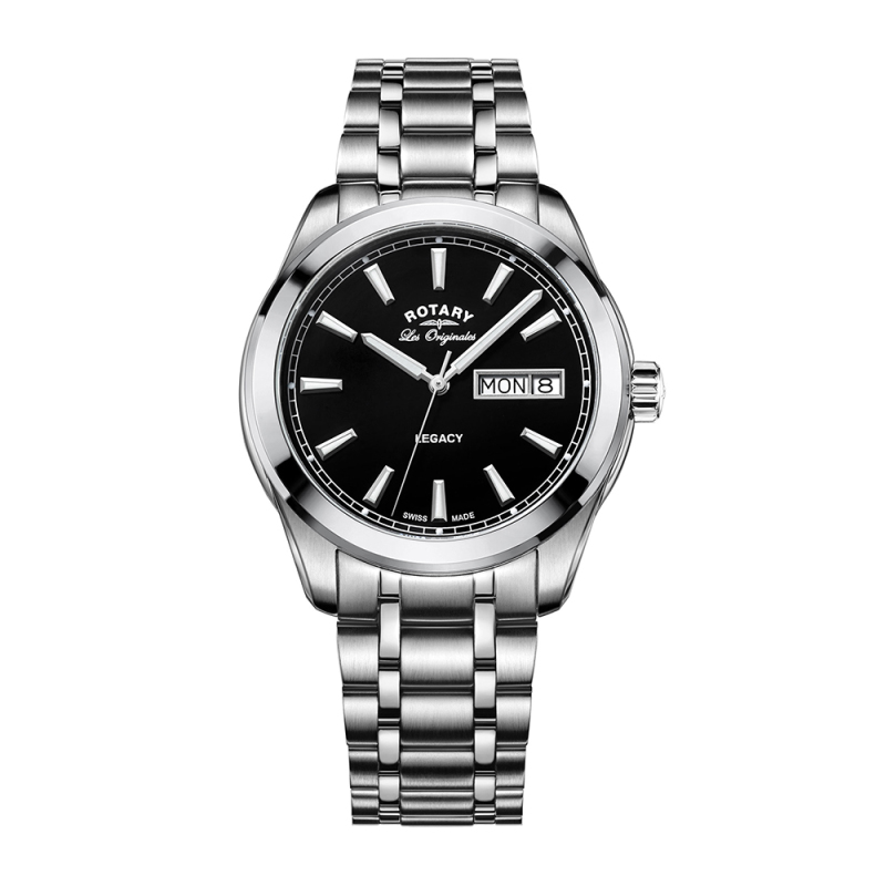 Rotary Legacy Men's Quartz Watch | Black Dial | Stainless Steel Bracelet | GB90173/04