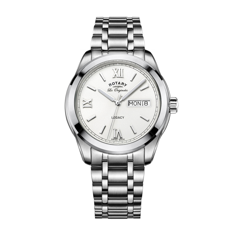 Rotary Legacy Mens Casual Watch | White Round Dial | Steel Bracelet Band | GB90173/01