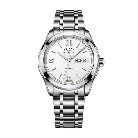 Rotary Legacy Mens Casual Watch | White Round Dial | Steel Bracelet Band | GB90173/01 Thumbnail 1