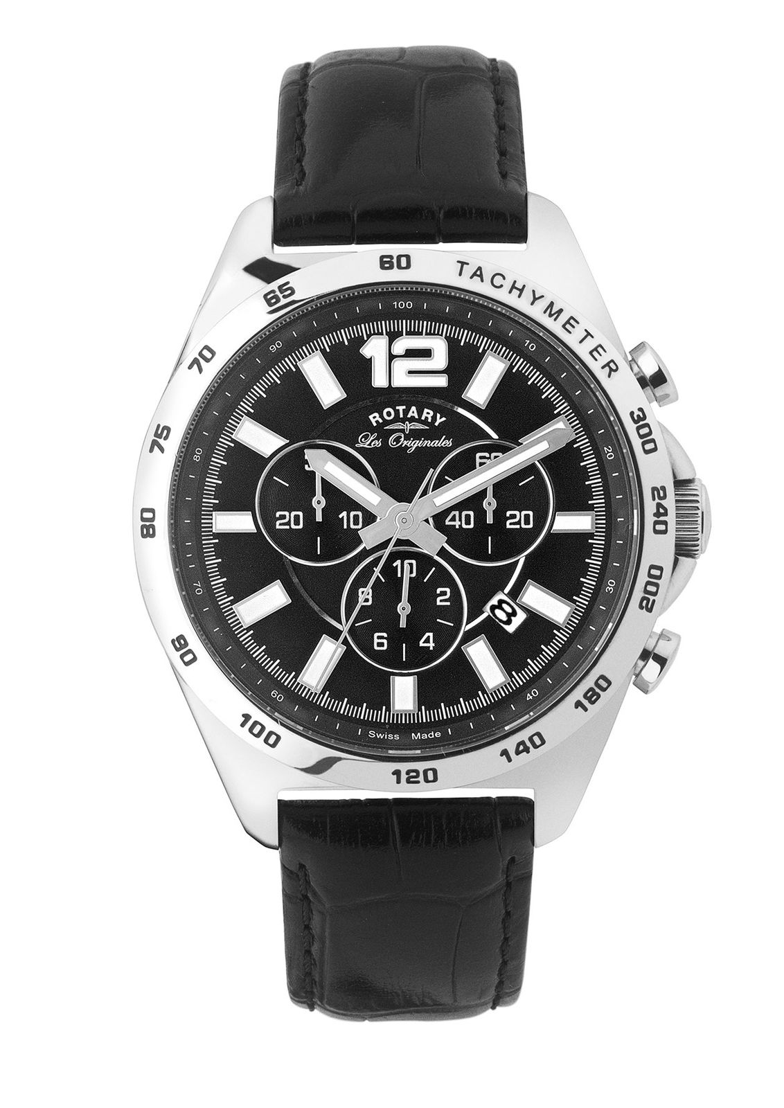 Rotary Eco Swiss Made Mens Watch | Chronograph Dial | Black Leather Strap | GS90070/04