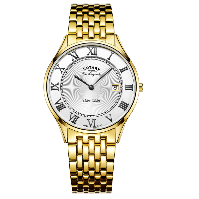 Rotary Ultra Slim Mens Watch | Roman Numerals Dial | Gold Plated Bracelet | GB90803/01