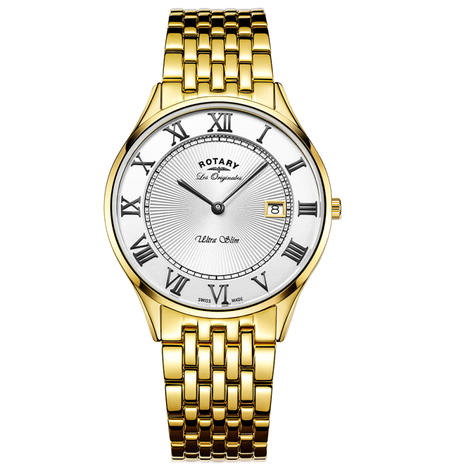 Rotary Ultra Slim Mens Watch | Roman Numerals Dial | Gold Plated Bracelet | GB90803/01 Thumbnail 1