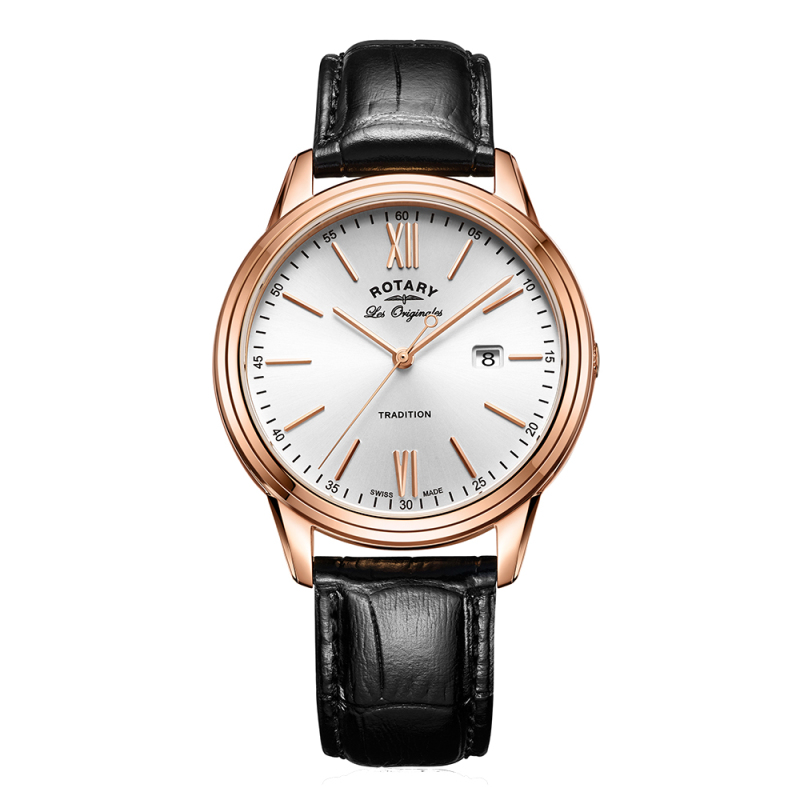 Rotary Tradition Men's Watch | Rose Gold Tone Case | Black Leather Strap | GS90196/01