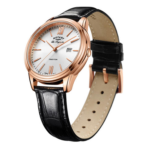 Rotary Tradition Men's Watch | Rose Gold Tone Case | Black Leather Strap | GS90196/01 Thumbnail 2