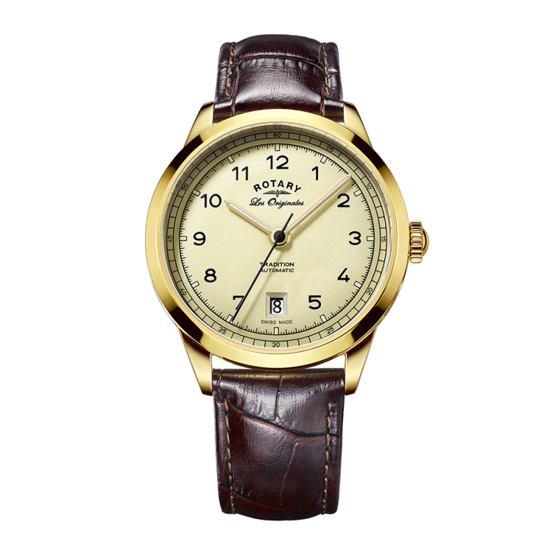 Rotary Tradition Automatic Men's Watch | Gold Plated Case | Leather Strap | GS90185/03