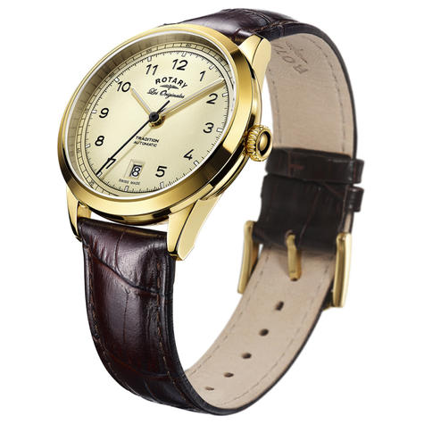 Rotary Tradition Automatic Men's Watch | Gold Plated Case | Leather Strap | GS90185/03 Thumbnail 2