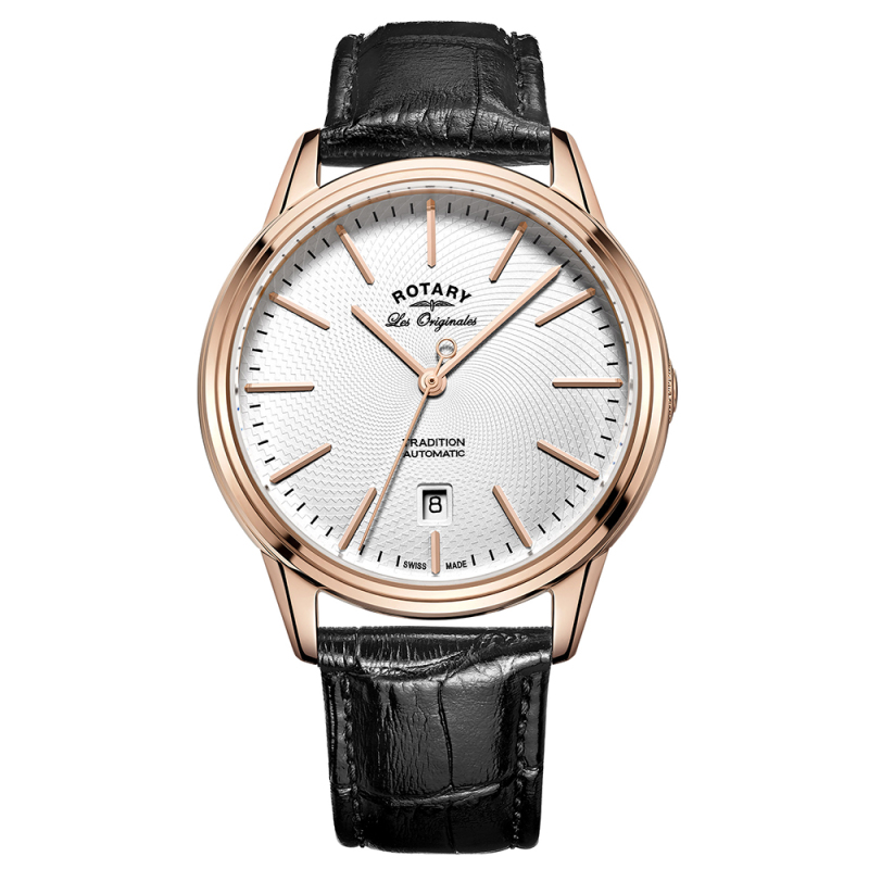 Rotary Tradition Automatic Men's Watch | White Dial | Black Leather Strap | GS90164/02