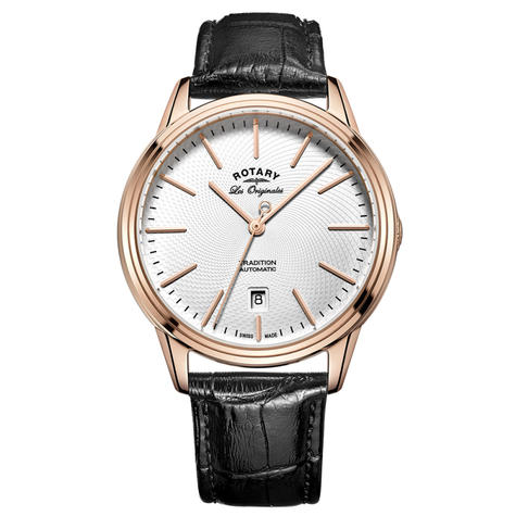 Rotary Tradition Automatic Men's Watch | White Dial | Black Leather Strap | GS90164/02 Thumbnail 1