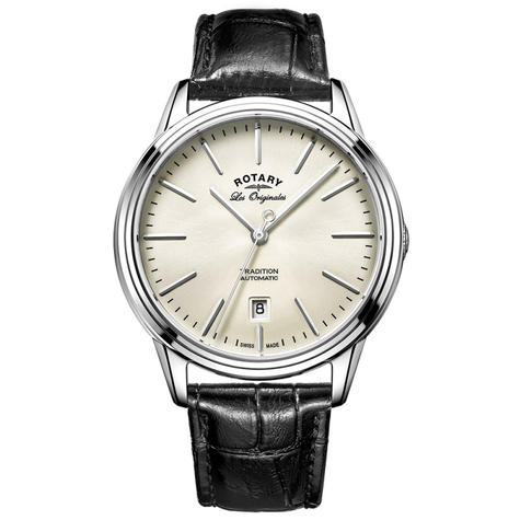 Rotary Tradition Automatic Men's Watch   Off White Dial   Leather Strap   GS90161/32 Thumbnail 1