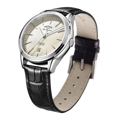 Rotary Tradition Automatic Men's Watch   Off White Dial   Leather Strap   GS90161/32 Thumbnail 2