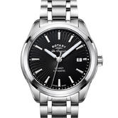 Rotary Legacy Automatic Gents Watch | Black Dial | Steel Bracelet Band | GB90165/04