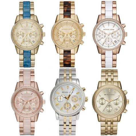 Michael Kors Ritz Chronograph Diamond Accent Bezel Stainless Strap Ladies Watch Thumbnail 1