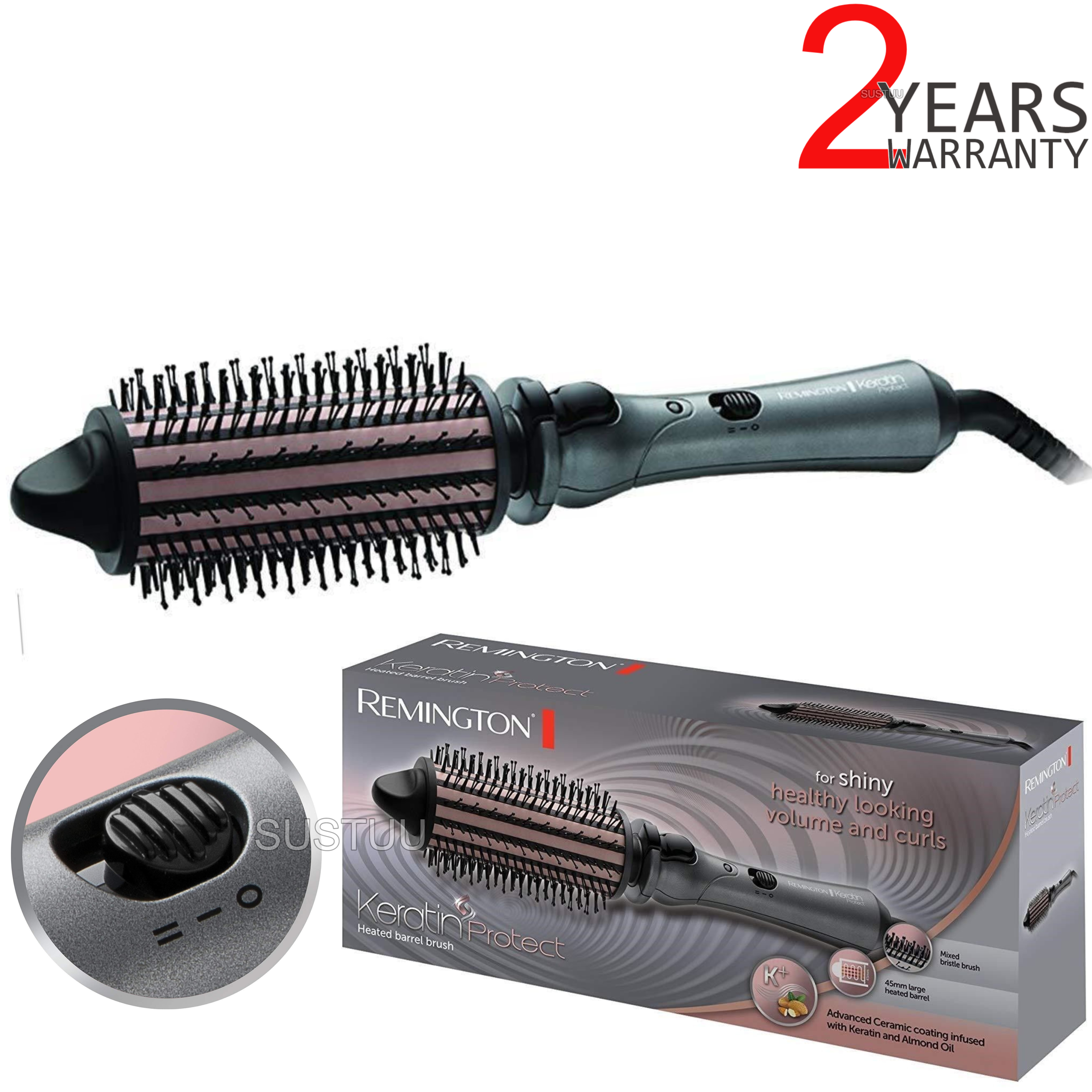 Remington CB65A458 Keratin Protect Heated Volume Hair Brush | Ceramic Coated | 45mm