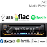 JVC Car Stereo | CD Receiver | DAB+ Tuner | Bluetooth | USB/AUX-in | iPod-iPhone-Android