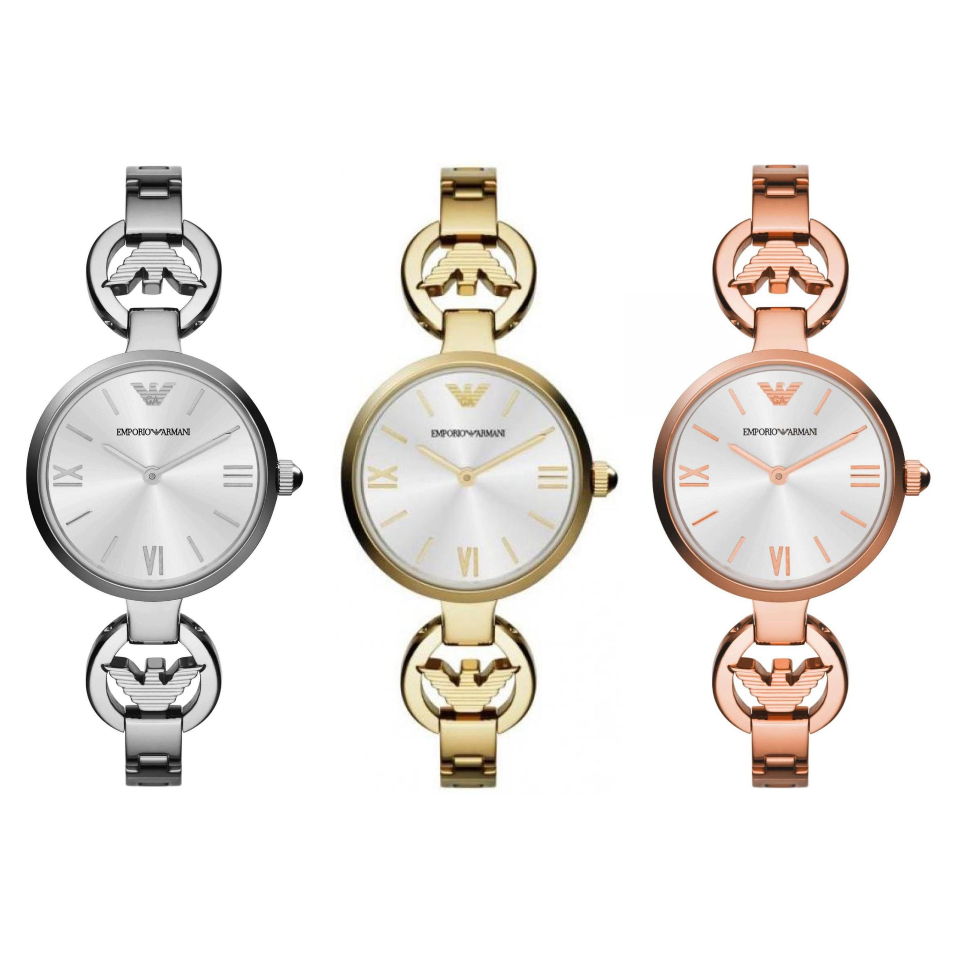 Emporio Armani Classic T-Bar Roman Numeral Steel Silver Dial Slim Ladies Watch