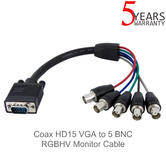 StarTech Coax HD15 VGA to 5 BNC RGBHV Monitor Cable | VGABNCMF1 | 0.3 Meter