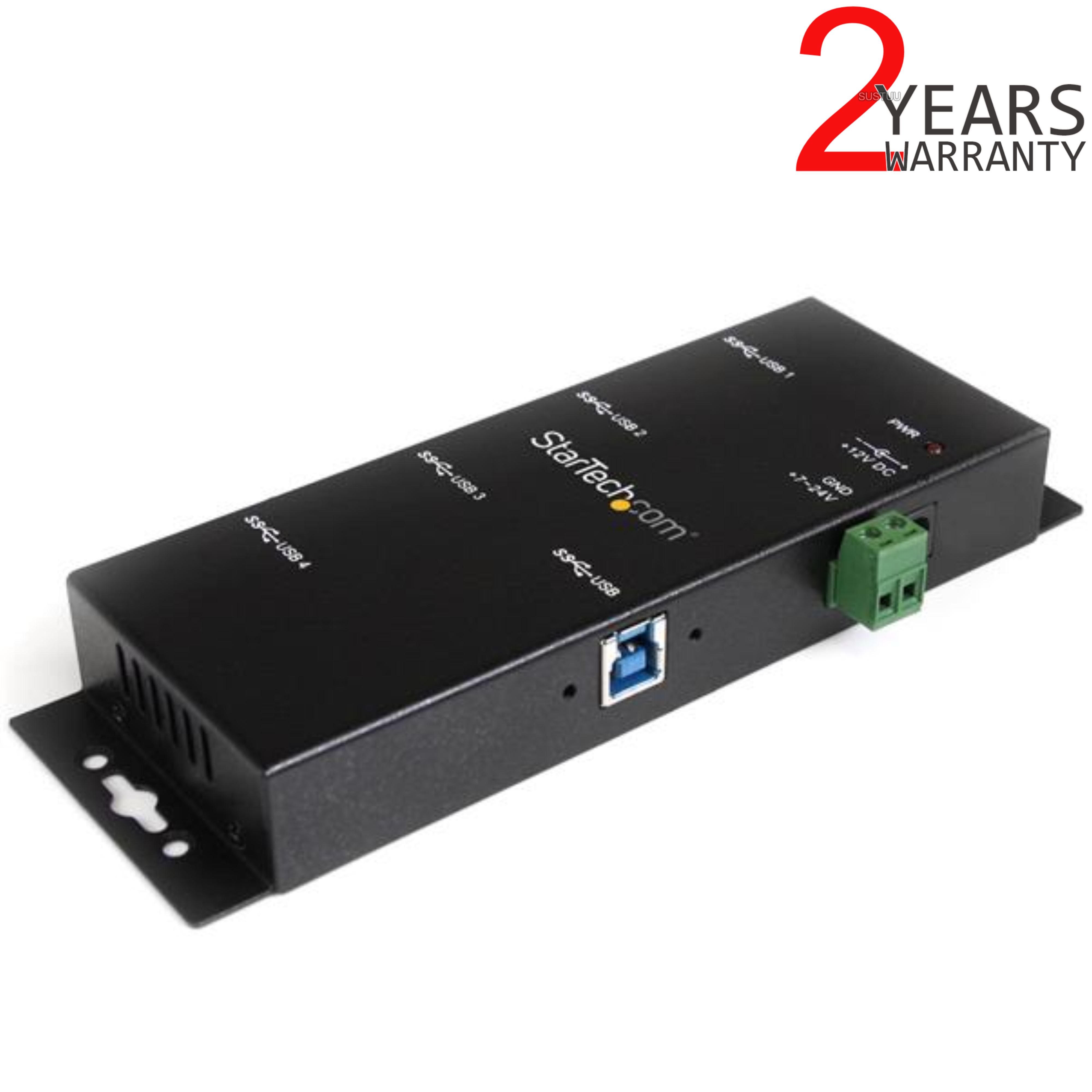 StarTech 4 Port Rugged Industrial SuperSpeed USB 3.0 Hub | Wall Mountable | Black