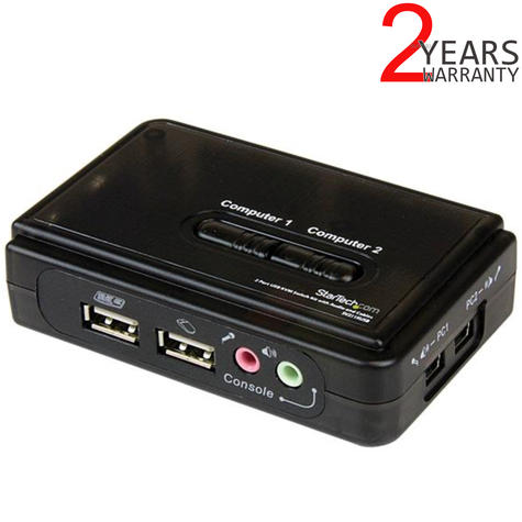 StarTech 2 Port Black USB KVM Switch Kit with Audio and Cables | SV211KUSB Thumbnail 1