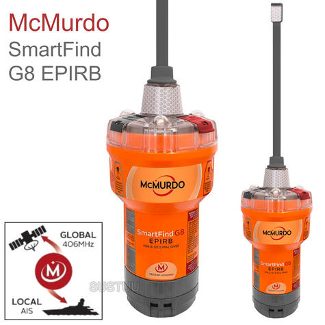 Mcmurdo SmartFind G8 AIS EPIRB | 72 MEOSAR | 406 & 121.5 MHz GPS/ GNSS | Marine Use Thumbnail 1