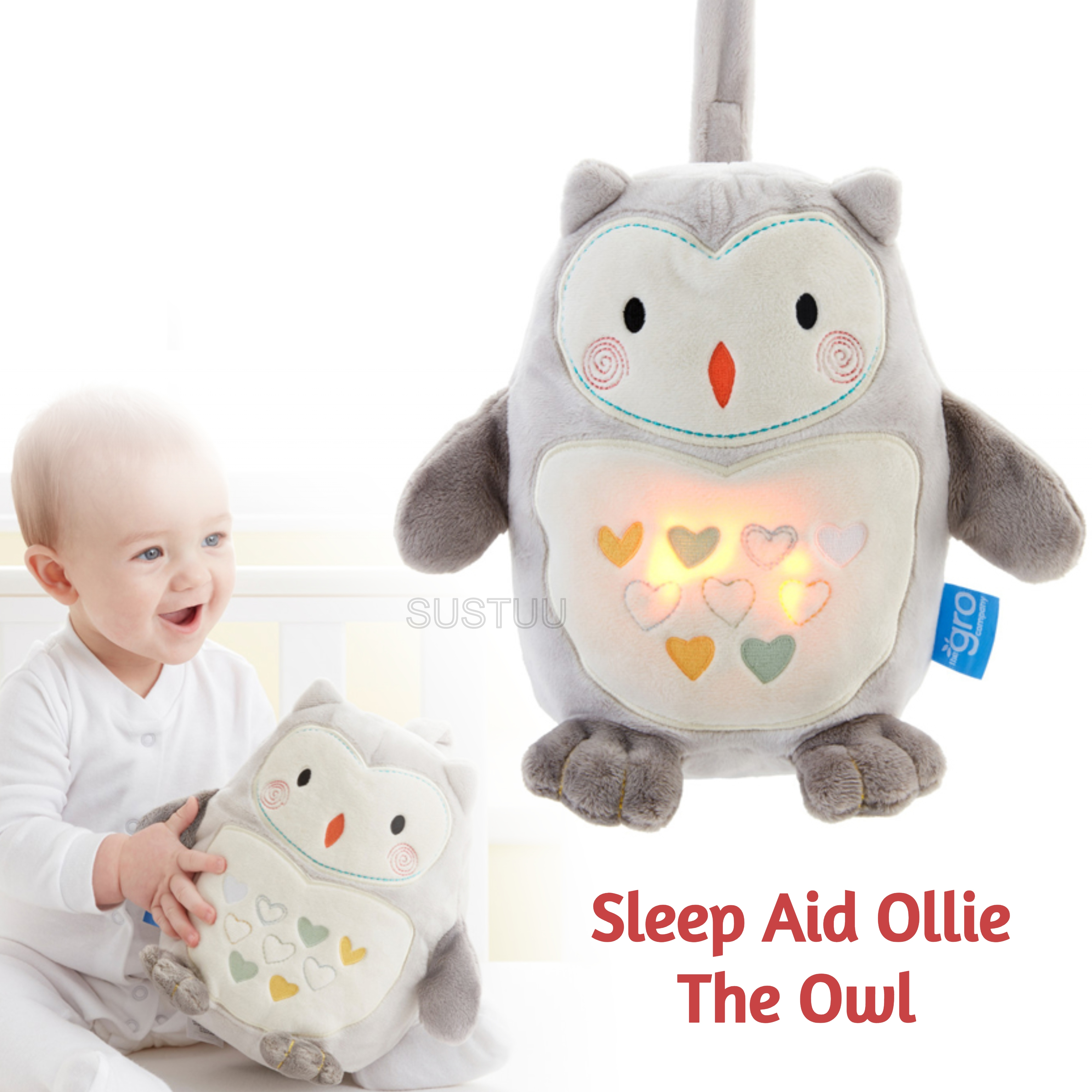 GroFriends Sleep Aid Ollie the Owl | Kid's Comfort Sleeping Toy | Light-Sound Sleep