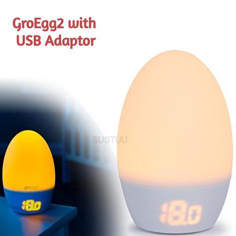 GroEgg2 with USB Adaptor Room | Digital Travel Thermometer | Night Light USB Lamp Thumbnail 1