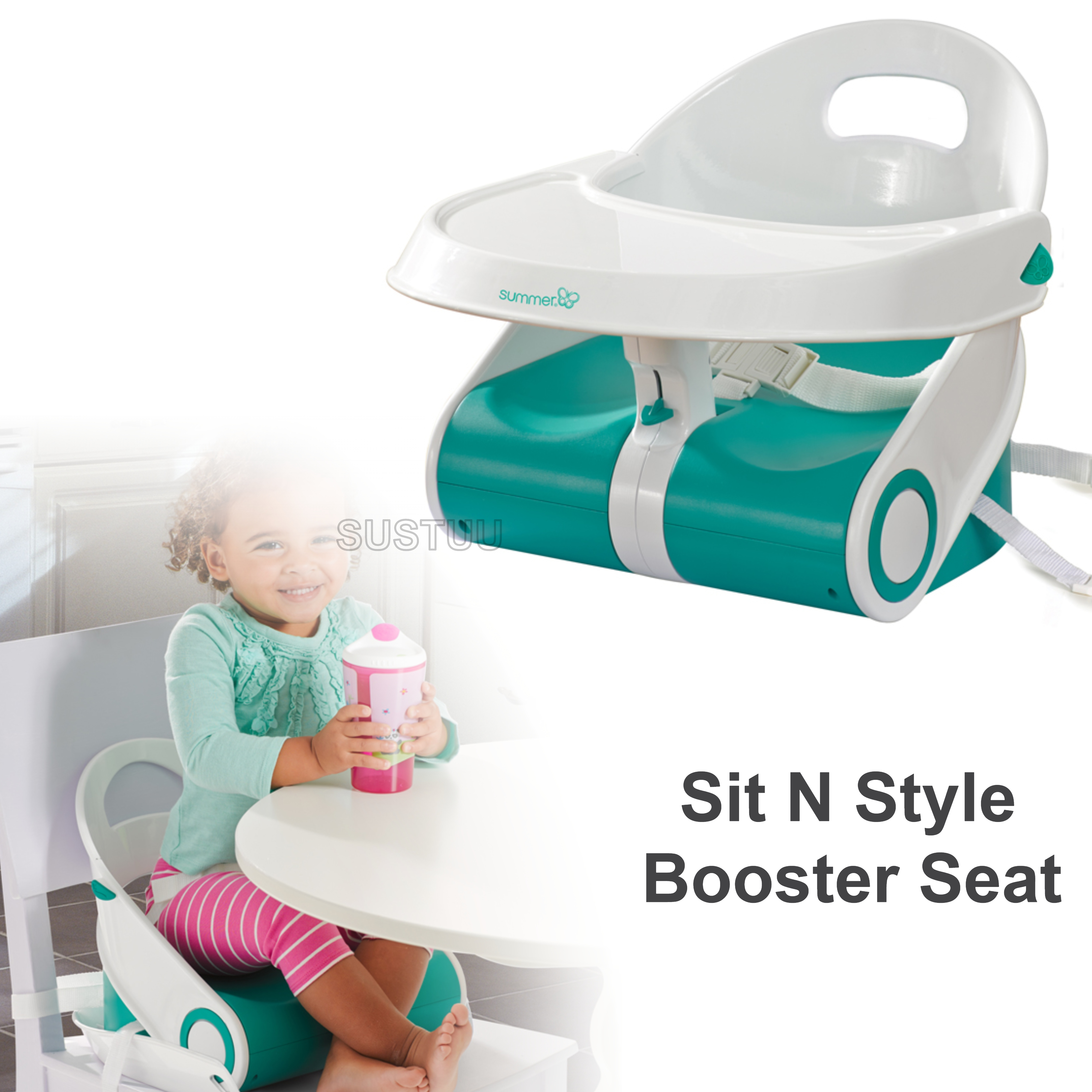 Summer Infant Sit N Style Booster Seat Teal/White | Indoor Outdoor Feeding | +6months