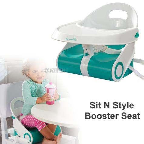 Summer Infant Sit N Style Booster Seat Teal/White | Indoor Outdoor Feeding | +6months Thumbnail 1