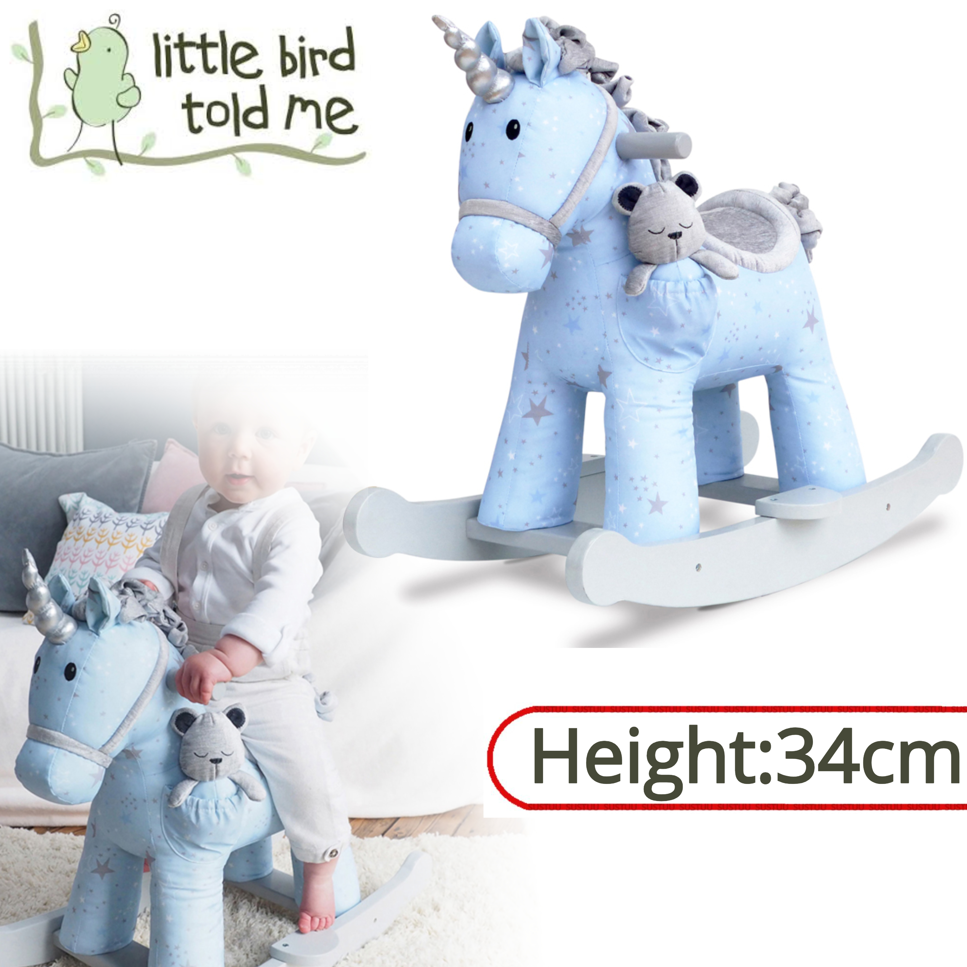 Little Bird Told Me Celeste & Fae Rocking Unicorn 9m+   Ride On   With Soft Fabric