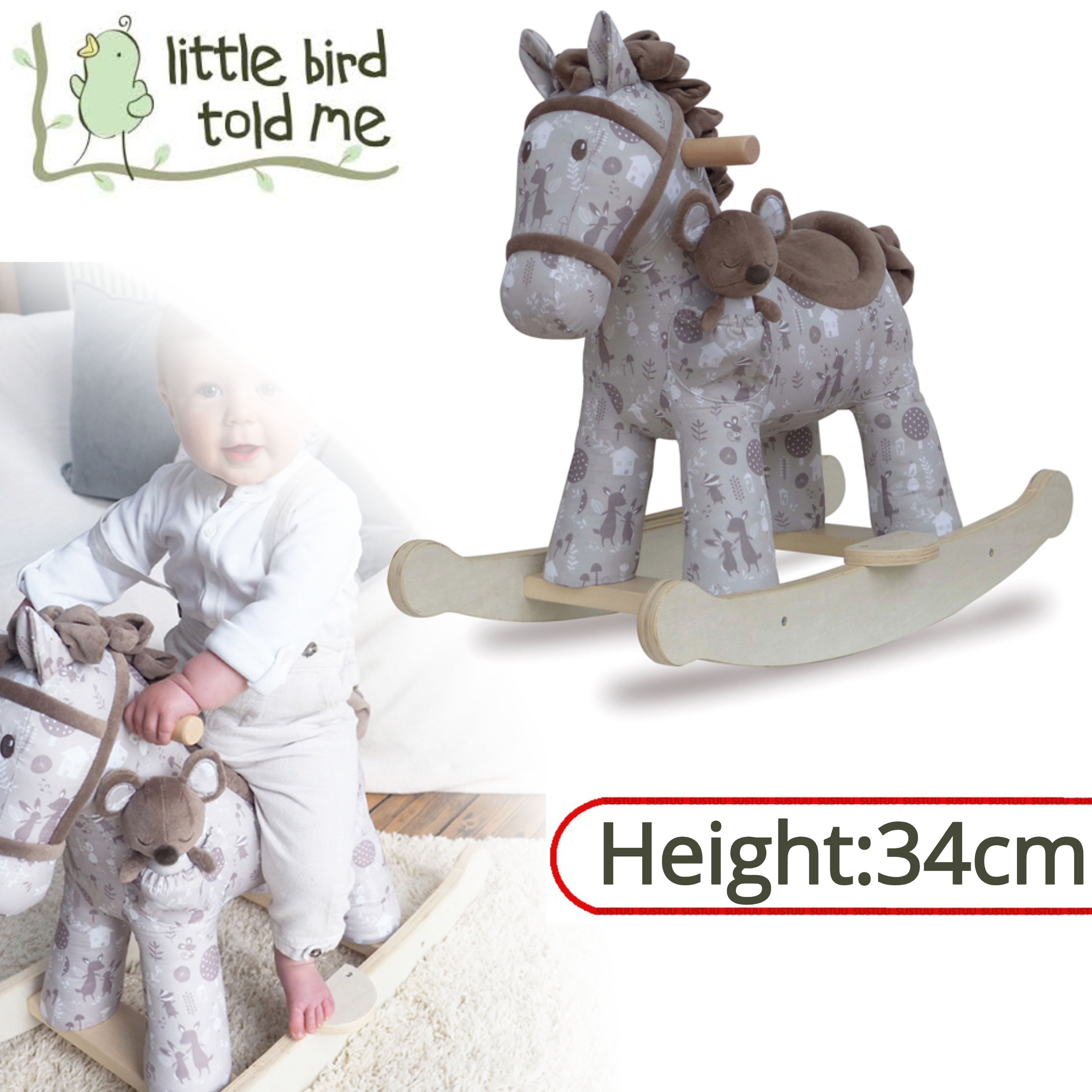 Little Bird Told Me Biscuit & Skip Rocking Horse Toy 9m+   Ride On   With Soft Fabric